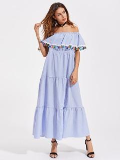 Colorful Tassel Trim Tiered Flounce Bardot Dress