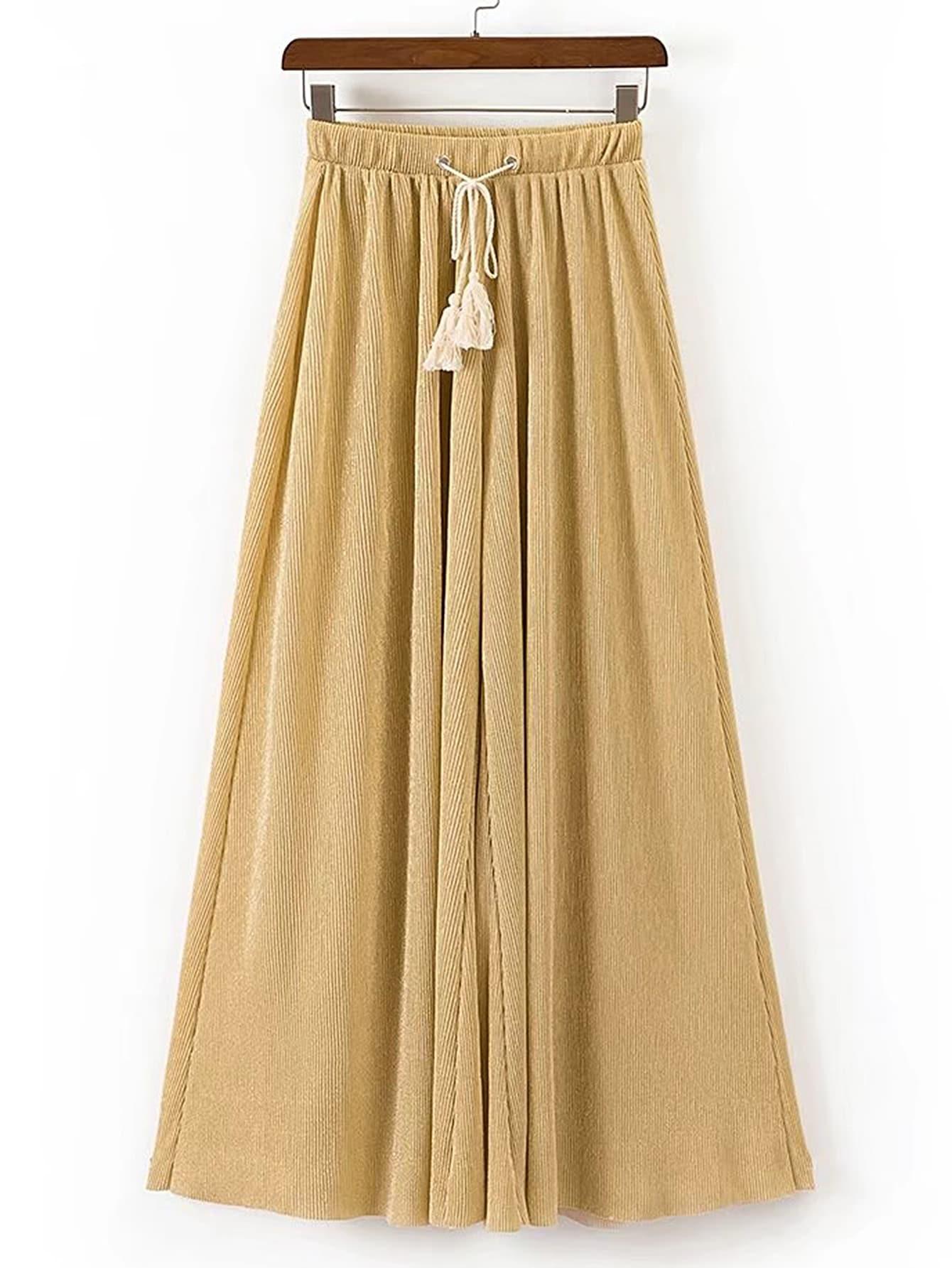Фото Drawstring Waist Wide Leg Pants With Fringe. Купить с доставкой