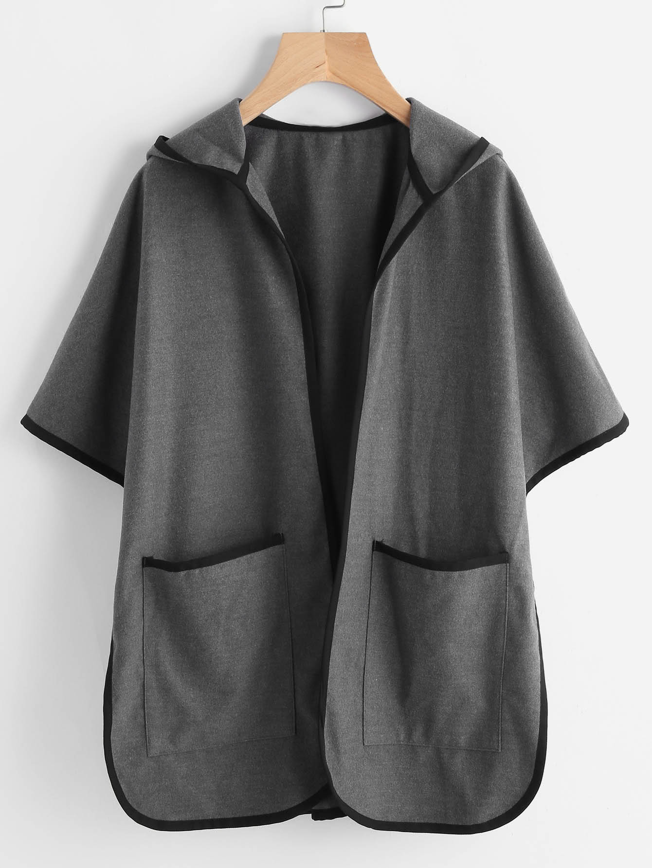 Grey Contrast Binding Open Front Hooded Poncho Coat grey layered contrast color hooded strappy front sweatshirt