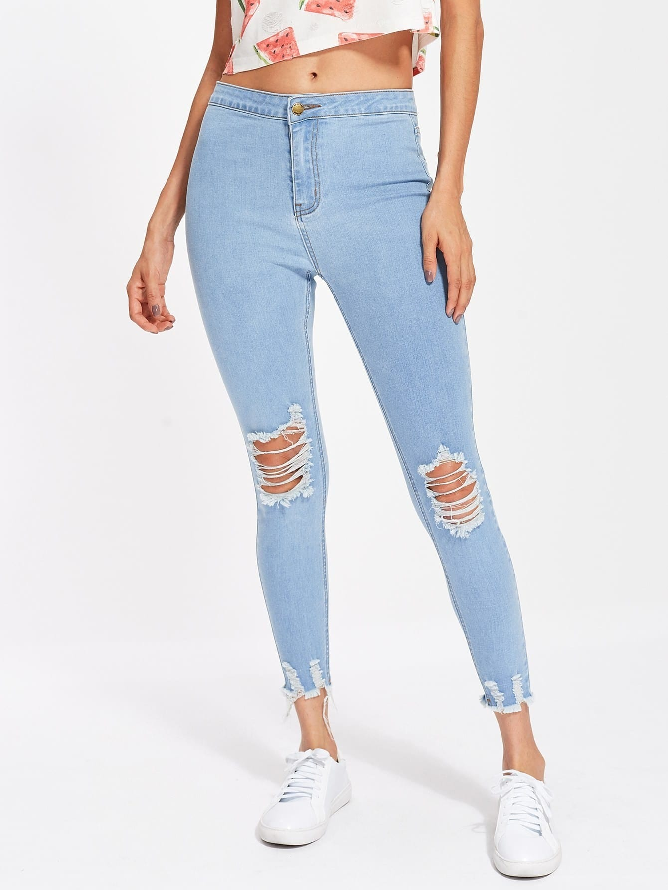 Light Wash Distressed Jeans thumbnail