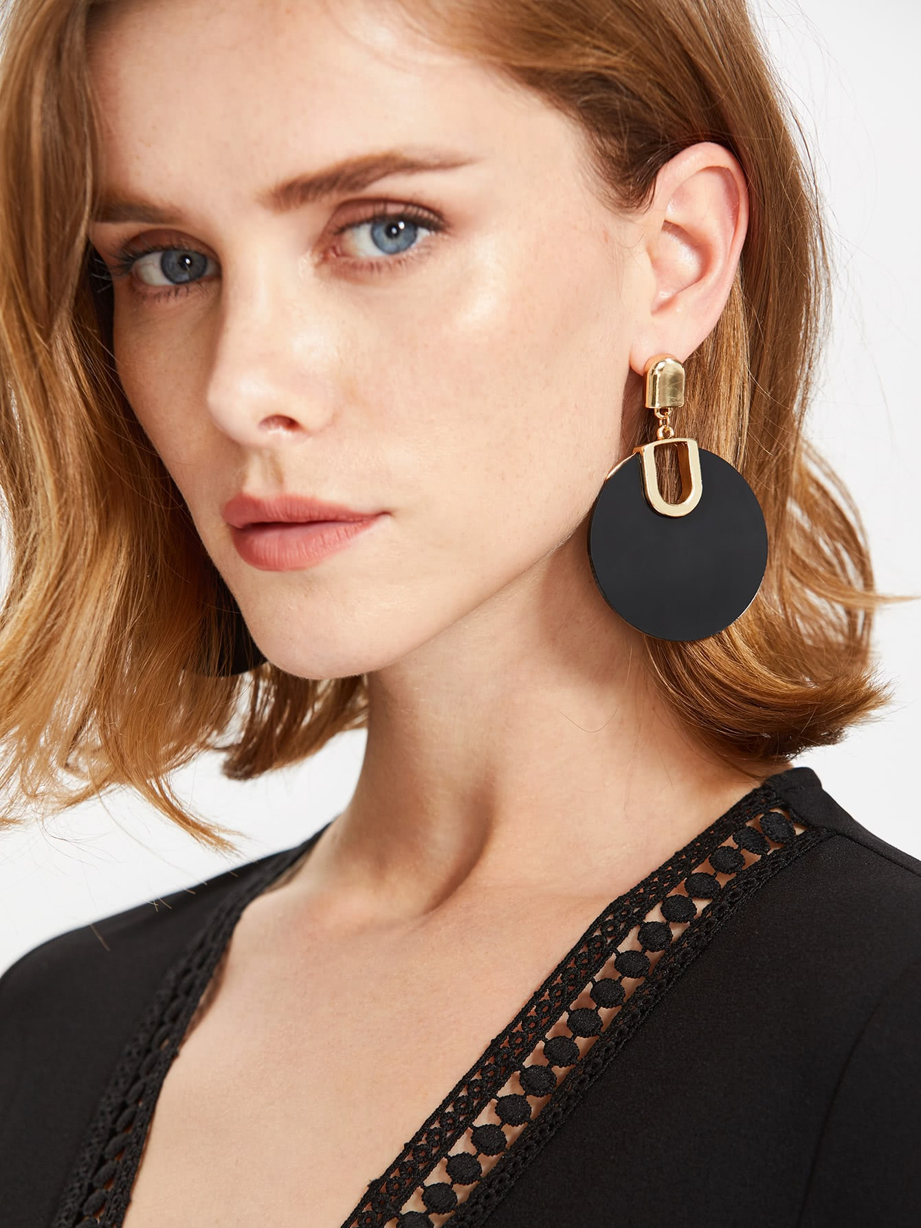 Two Tone Geometric Drop Earrings two tone heart