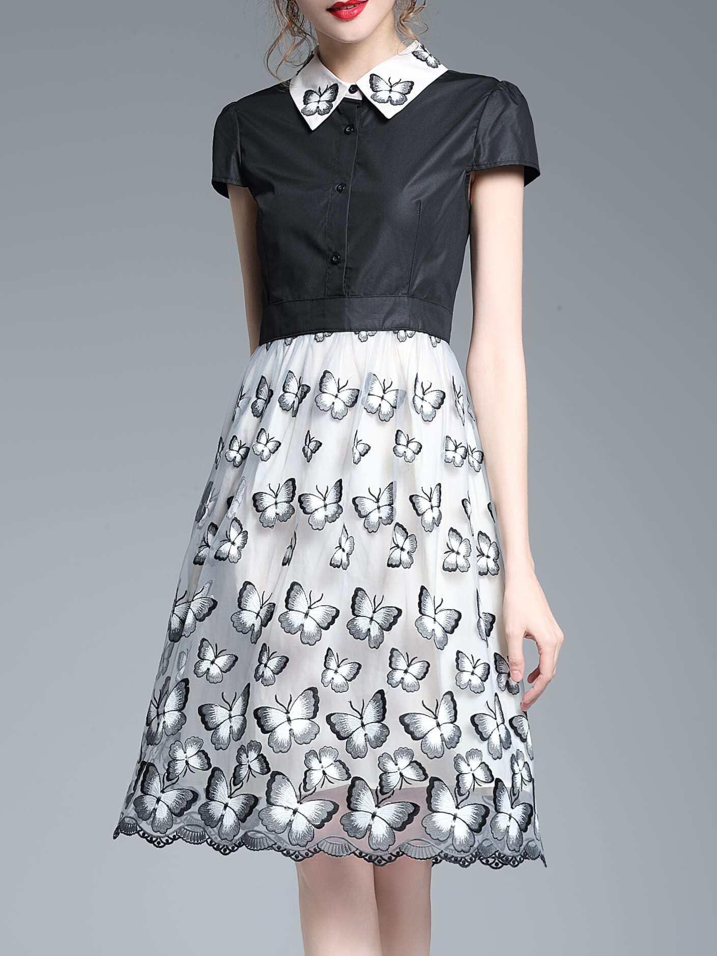 Фото Butterfly Embroidered Combo Dress. Купить с доставкой