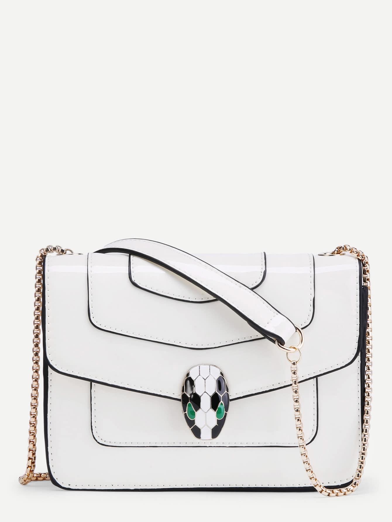 Фото Snake Head Front Piping Detail PU Chain Bag. Купить с доставкой