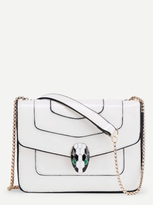 Snake Head Front Piping Detail PU Chain Bag