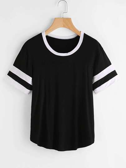 Contrast Trim Varsity Striped Tee
