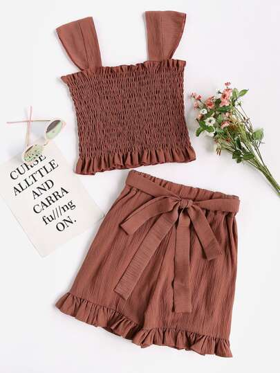 Rust Frill Trim Shirred Tank Top With Shorts