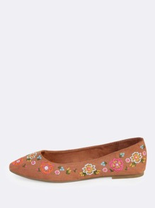 Point Embroidered Flats MOCHA