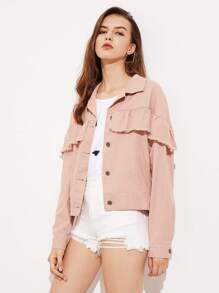 Frayed Ruffle Trim Button Up Jacket