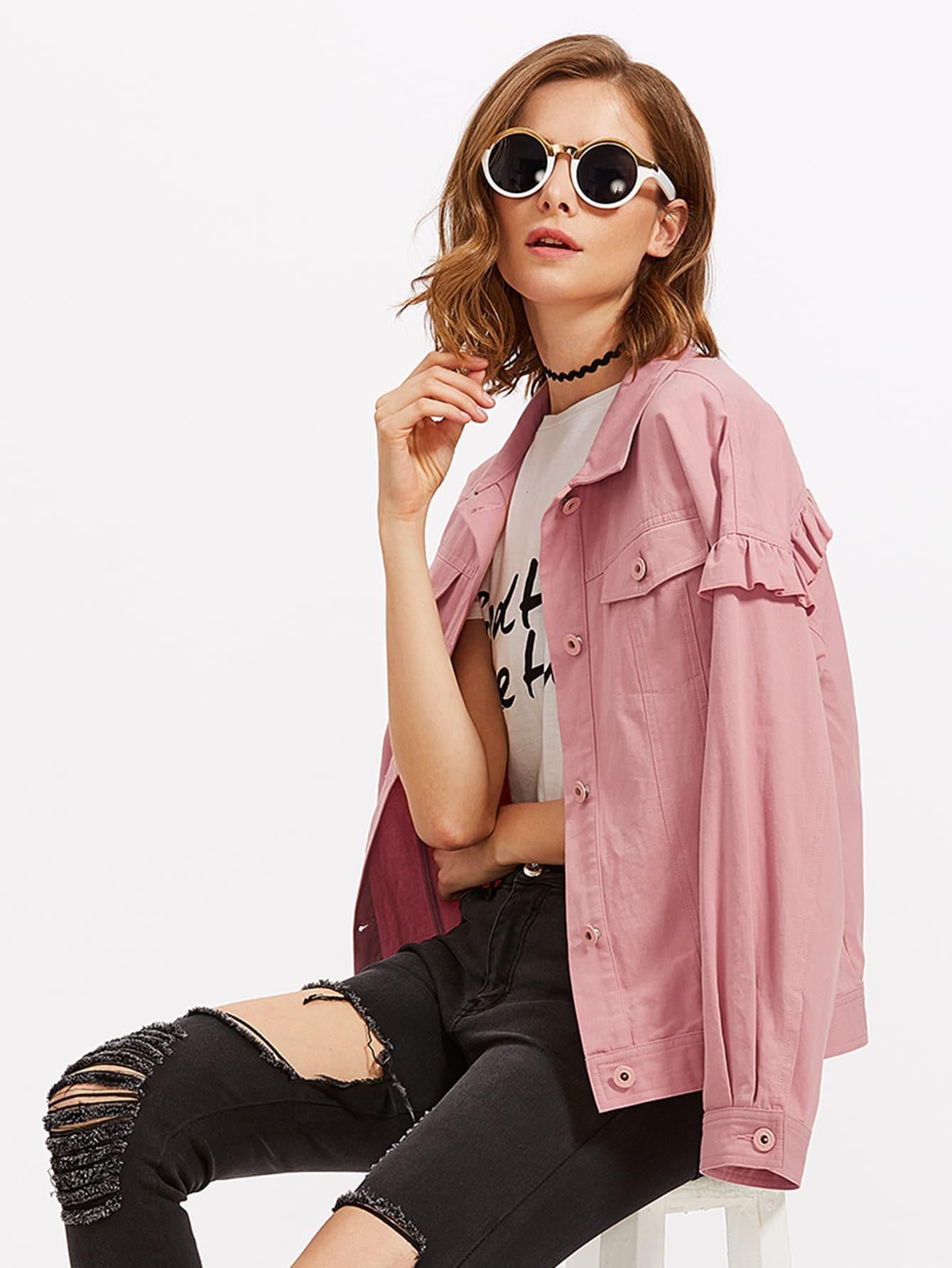 Drop Shoulder Frill Detail Jacket