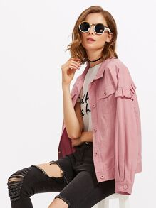 Drop Shoulder Frill Detail Jacket