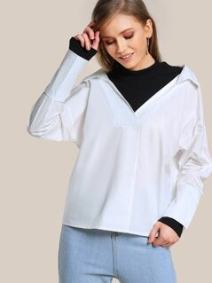 Mock Collar Sweatshirt Cut Out Top WHITE