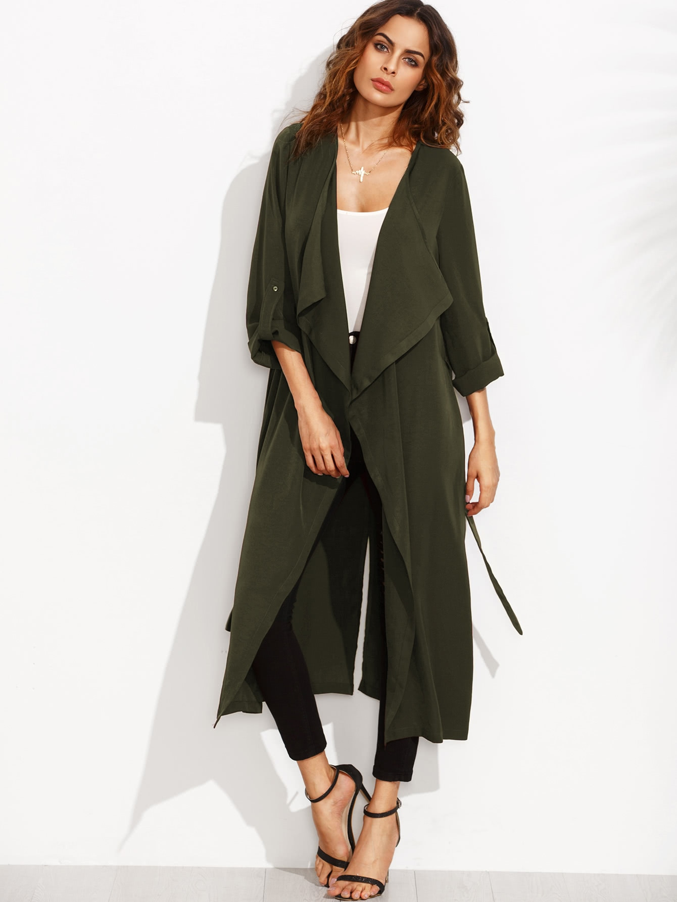 Rolled Up Sleeve Split Back Self Tie Coat split sleeve self tie bodysuit