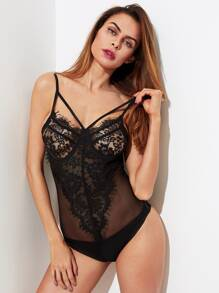 Lace Panel Strappy Mesh Harness Bodysuit