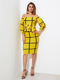 Self Tie Grid Peplum Dress