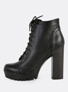Front Lace Up Zip Up Heel Booties BLACK