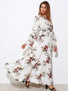 Layered Bell Sleeve Self Tie Hijab Evening Dress