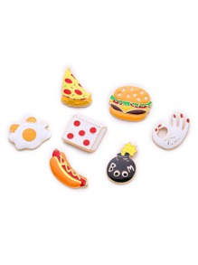 Hamburger & Dice Design Brooch Set