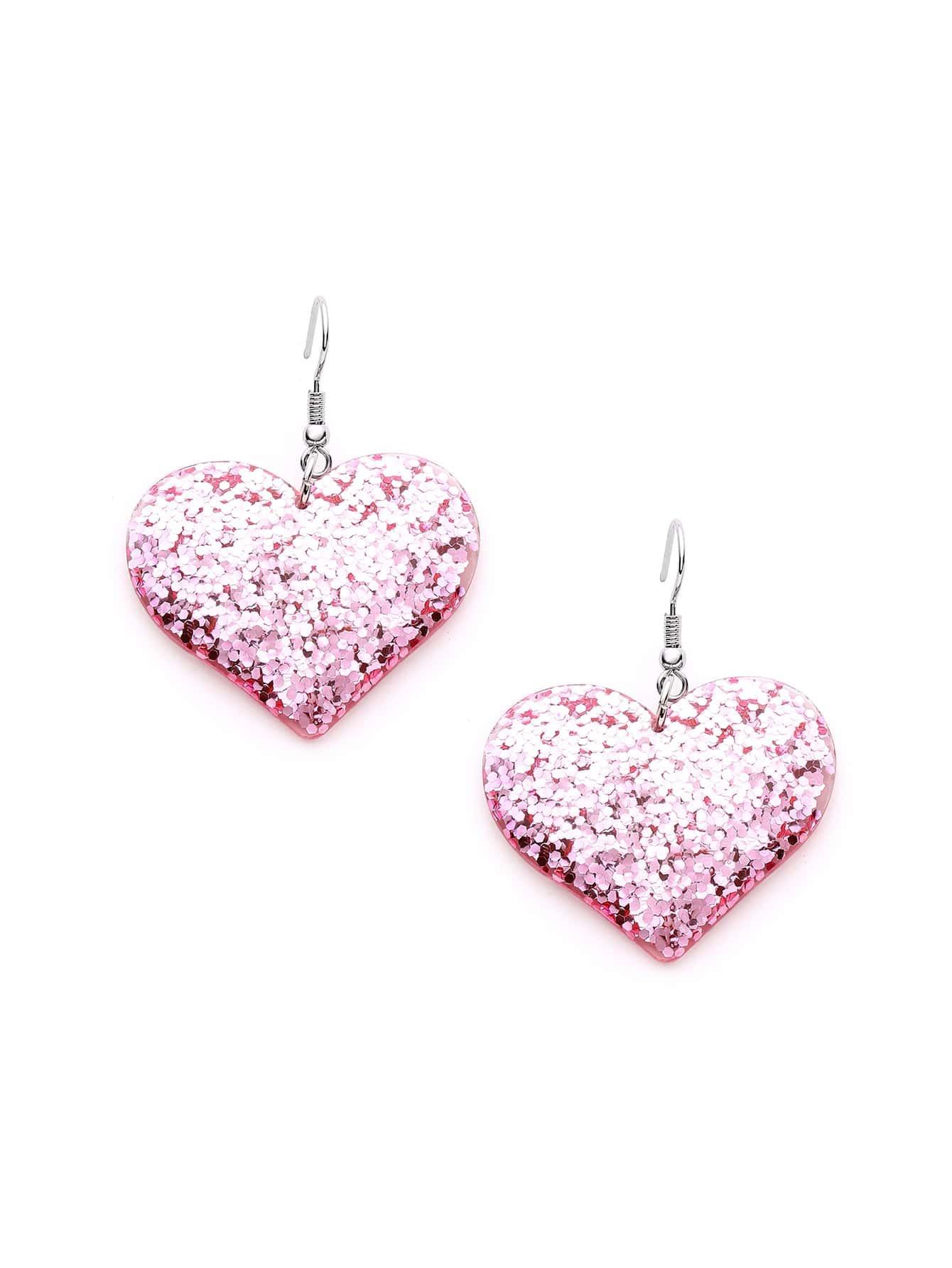 Фото Sequin Heart Design Drop Earrings. Купить с доставкой