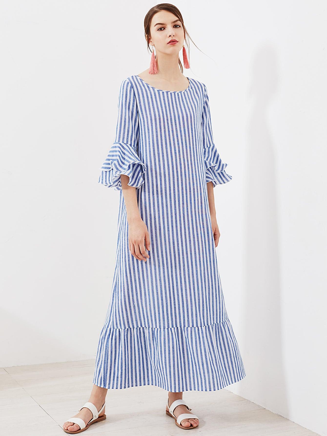 Фото Layered Bell Sleeve Striped Kaftan Dress. Купить с доставкой