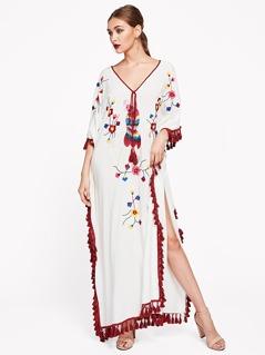 Tie Neck Tassel Trim Embroidered Poncho Dress