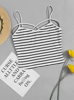 Rib Knit Crisscross Crop Cami Top