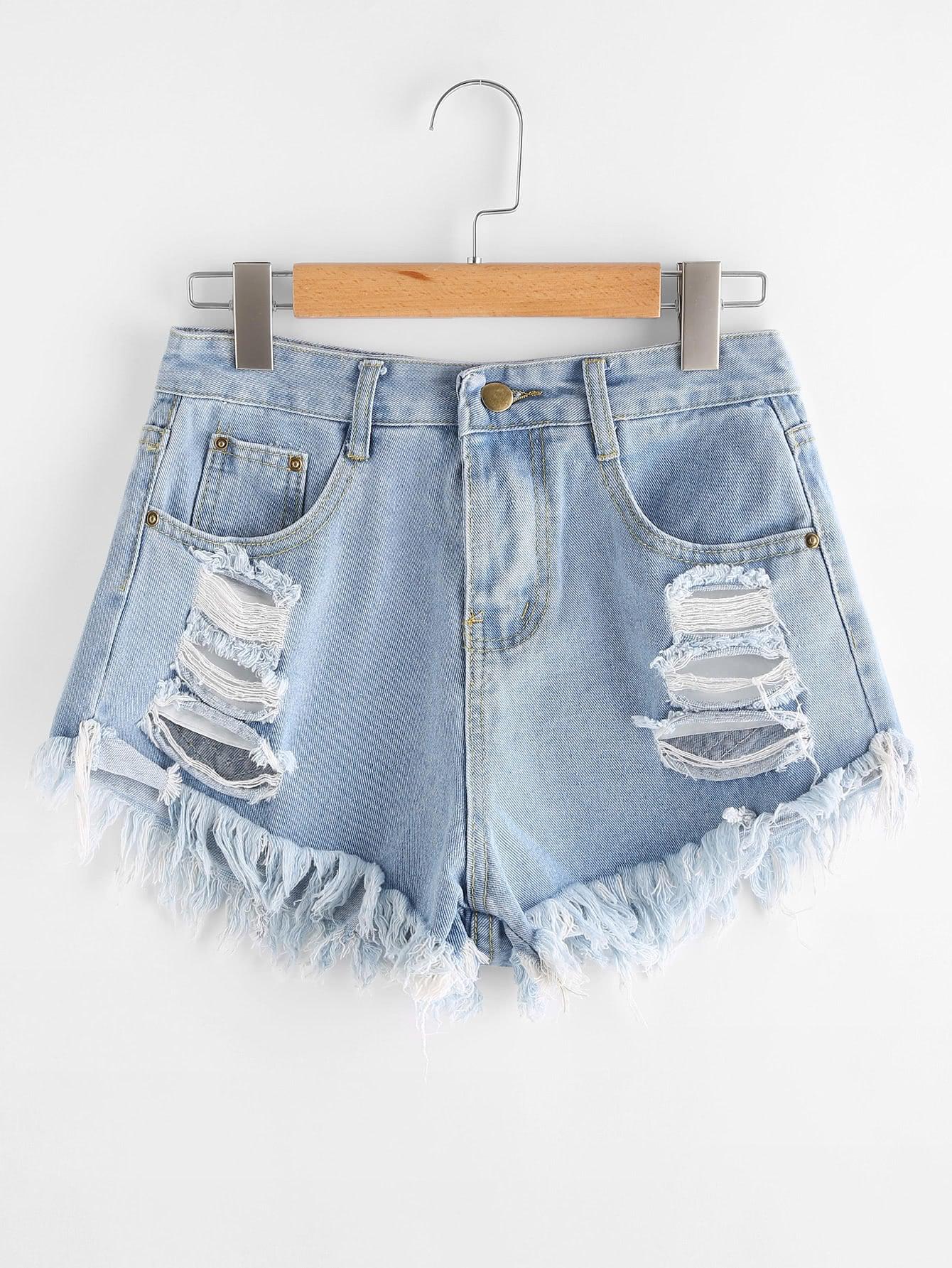 Destroyed Fray Hem Denim Shorts