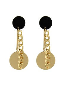 New Coming Round Metal Piece Long Chain Earrings Accessories