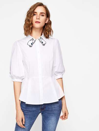 Embroidered Collar Lantern Sleeve Flare Blouse