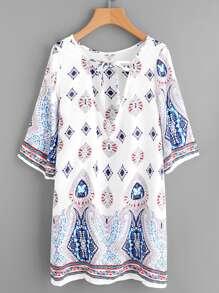 Plunge Tie Neck Ornate Print Dress
