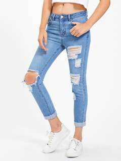 Light Wash Shredded Rips Detail Jeans