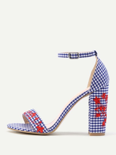 Disty Embroidery Gingham Block Heeled Sandals