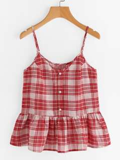 Buttoned Placket Checkered Peplum Cami Top