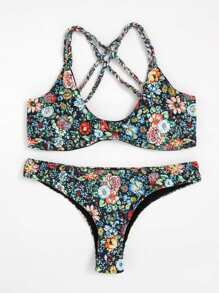 Calico Print Cross Back Bikini Set