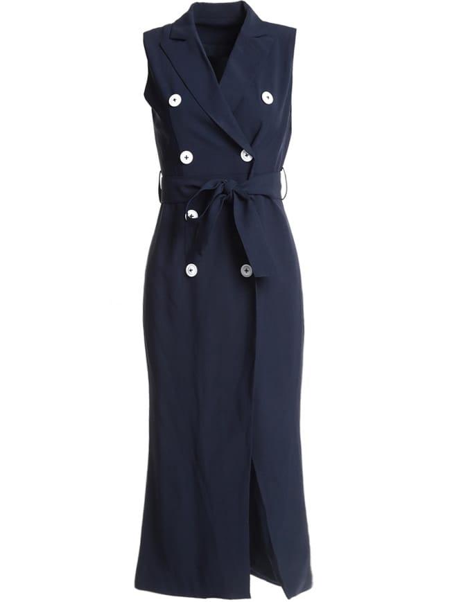 V Neck Tie-Waist Split Bodycon Dress tie neck elastic waist glitter dress