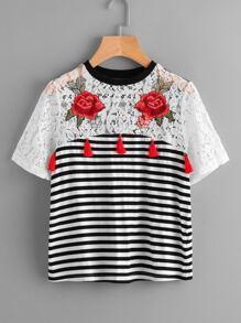 Rose Patch Lace Yoke Striped T-shirt