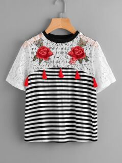 Rose Patch Lace Yoke Striped T-shirt