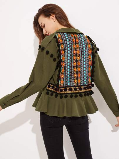 Embroidery Jacquard Back Pom Pom Detail Frilled Jacket