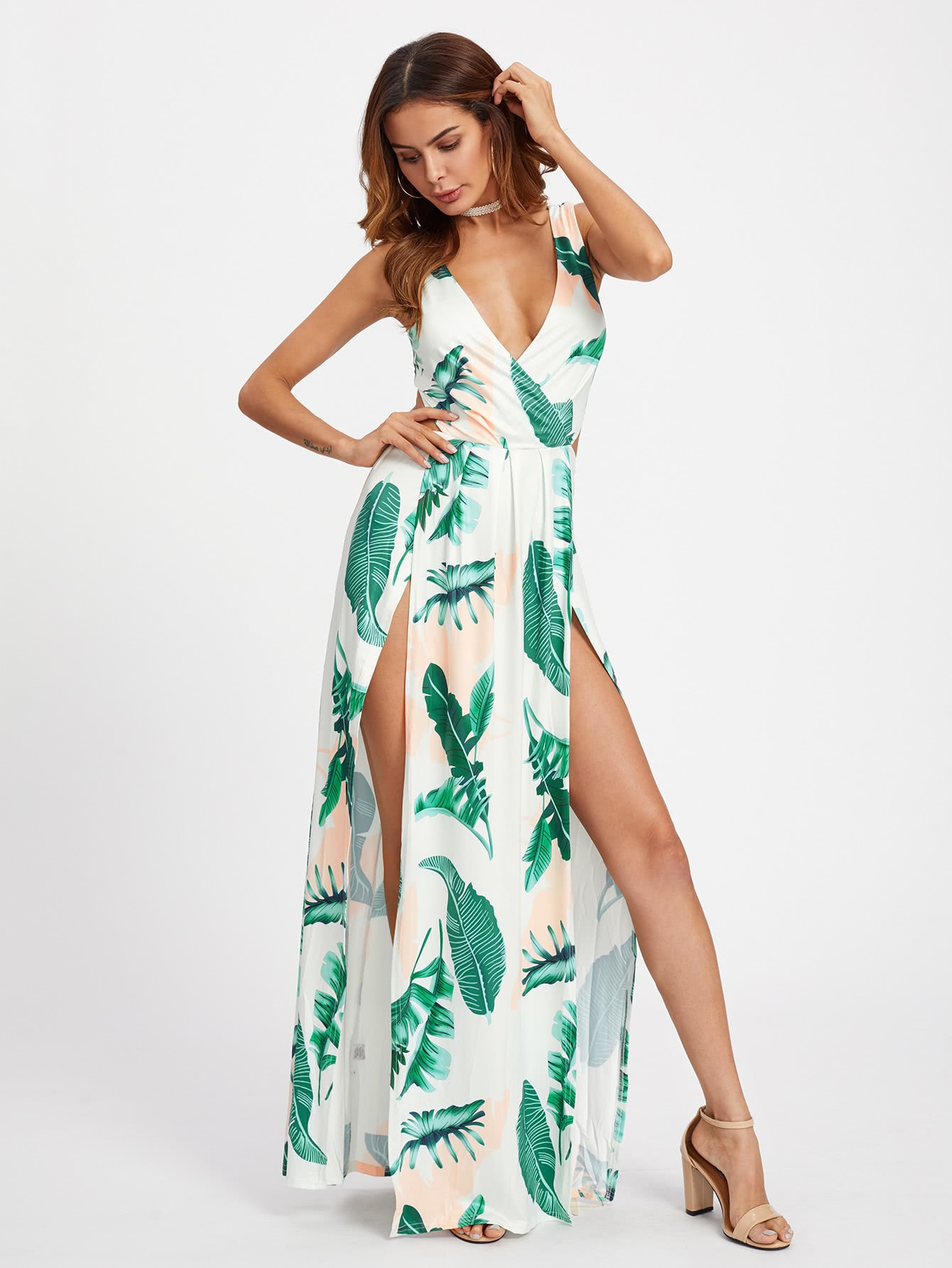 Surplice Neckline Open Back M-Slit Palm Leaf Print Dress