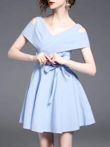 V Neck Open Shoulder Crop Dress