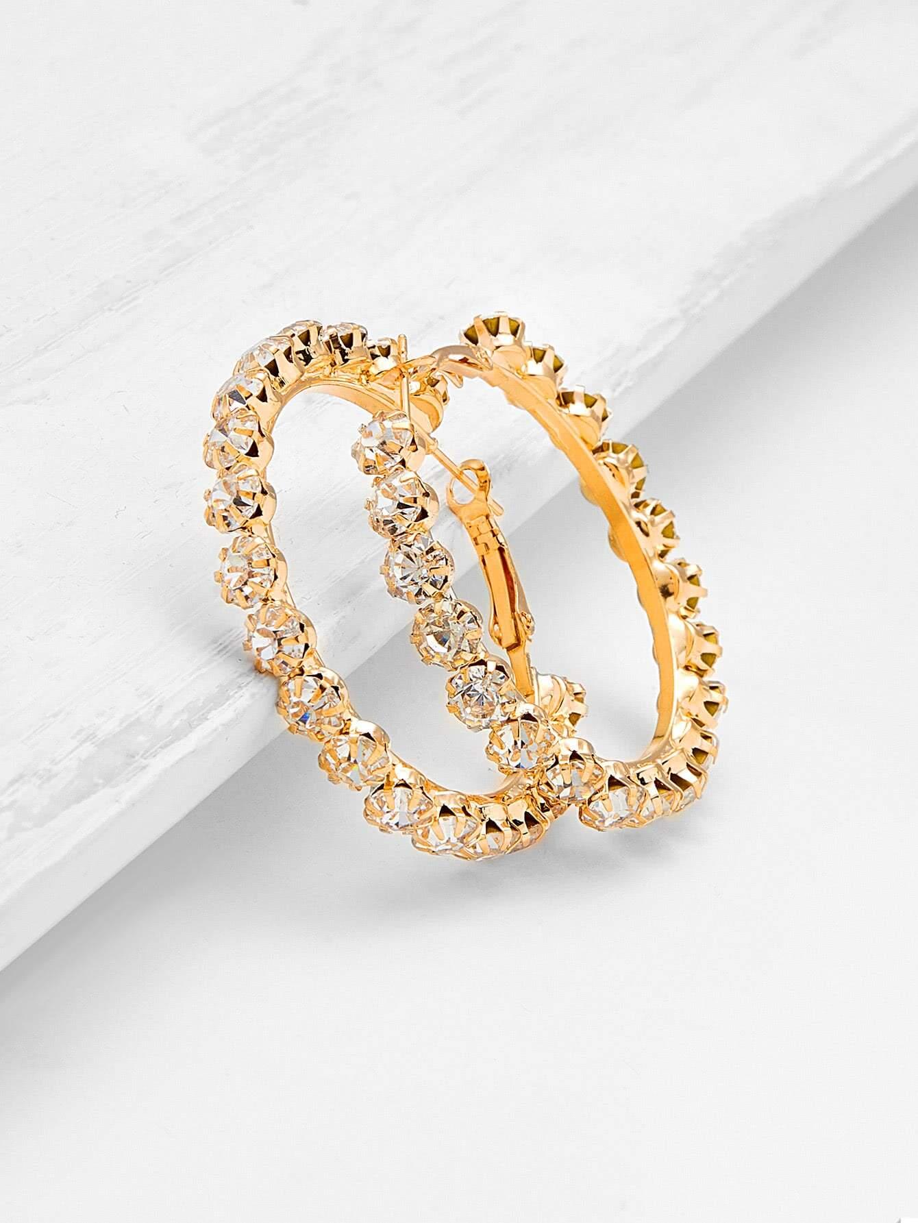Фото Rhinestone Delicate Hoop Earrings. Купить с доставкой