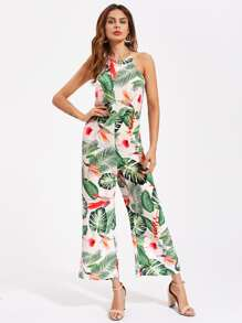 Racer Neck Crisscross Back Tropical Palazzo Jumpsuit