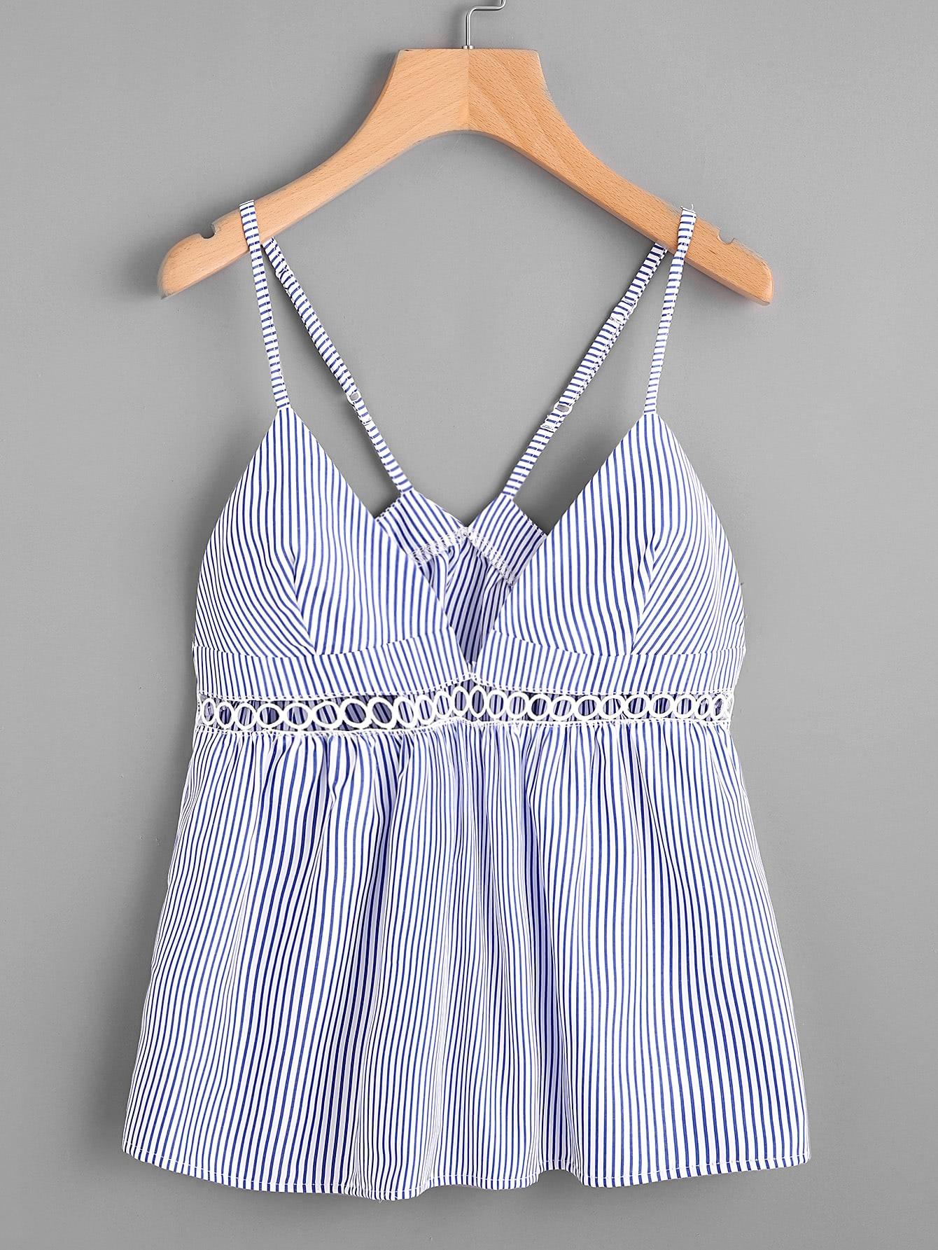 Фото Hollow Lace Panel Vertical Striped Cami Top. Купить с доставкой