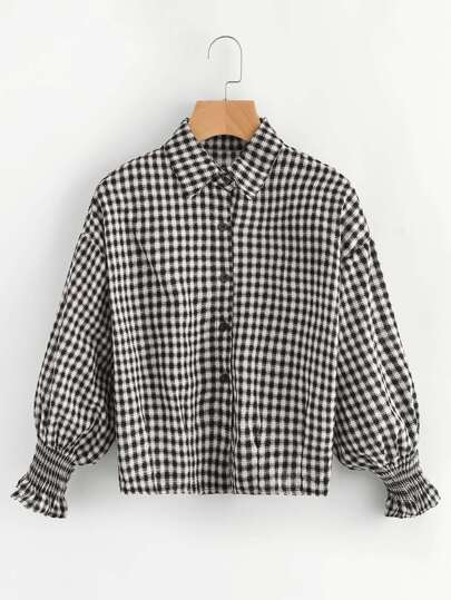 Lantern Sleeve Shirred Cuff Gingham Shirt