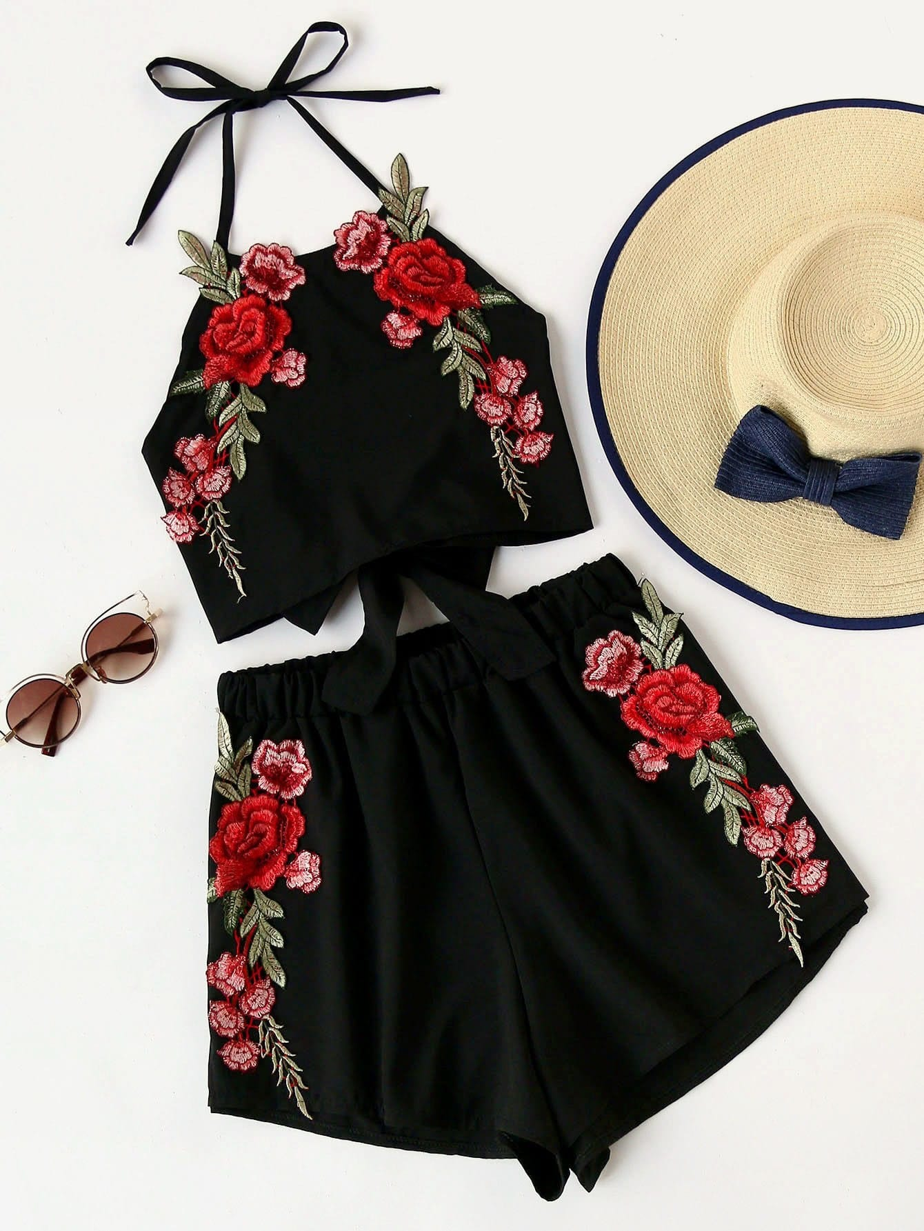 Rose Embroidery Bow Tie Open Back Top And Shorts Set allover florals bow tie detail frill top with shorts