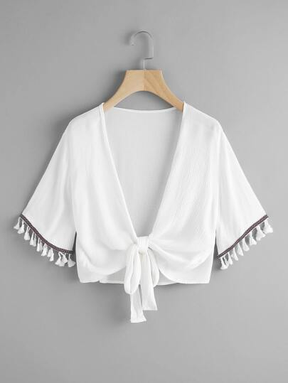 Embroidered Taped Fringe Cuff Knot Open Front Top