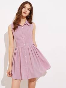 Box Pleated Fit & Flare Shirt Dress