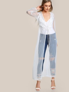 Lace Trim Sheer Kimono WHITE