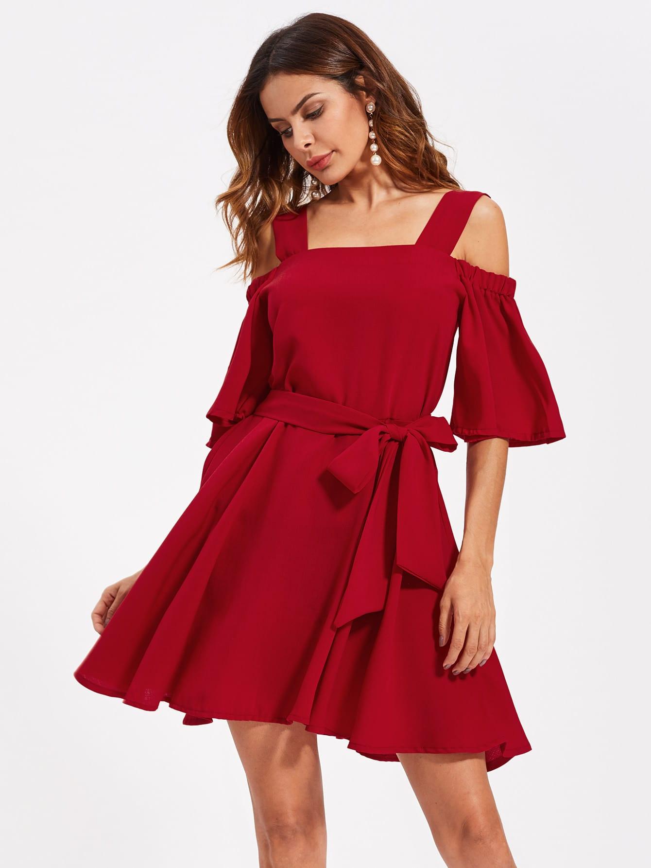 Фото Open Shoulder Self Tie Swing Dress. Купить с доставкой
