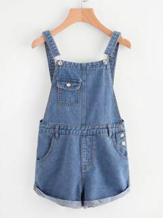Cuffed Denim Overall Shorts