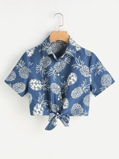 Knot Front Pineapple Print Shirt